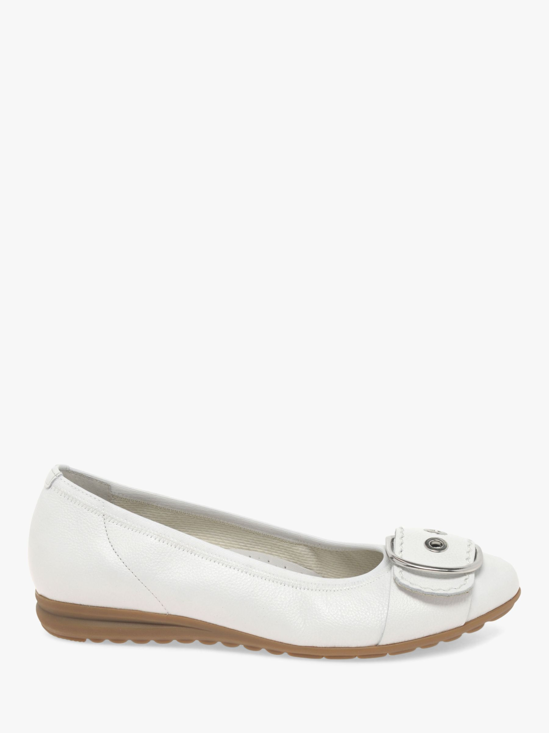 Gabor Gabor Saviour Leather Wide Fit Pumps, White