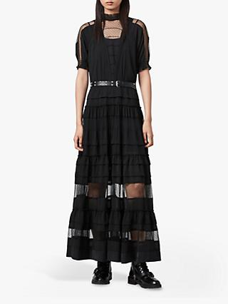 AllSaints Renia Polka Dot Mesh Tiered Maxi Dress, Black