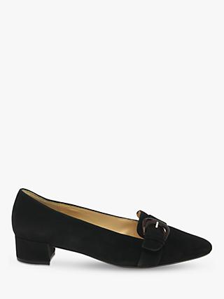 Gabor Predict Suede Buckle Court Shoes, Black