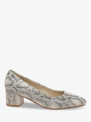 Gabor Delia Wide Fit Snakeskin Leather Court Shoes, Leinen