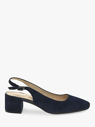 Gabor Joel Wide Fit Block Heel Slingback Court Shoes, Navy
