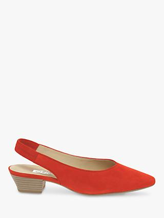 Gabor Heathcliffe Suede Sling Back Court Shoes, Coral Red