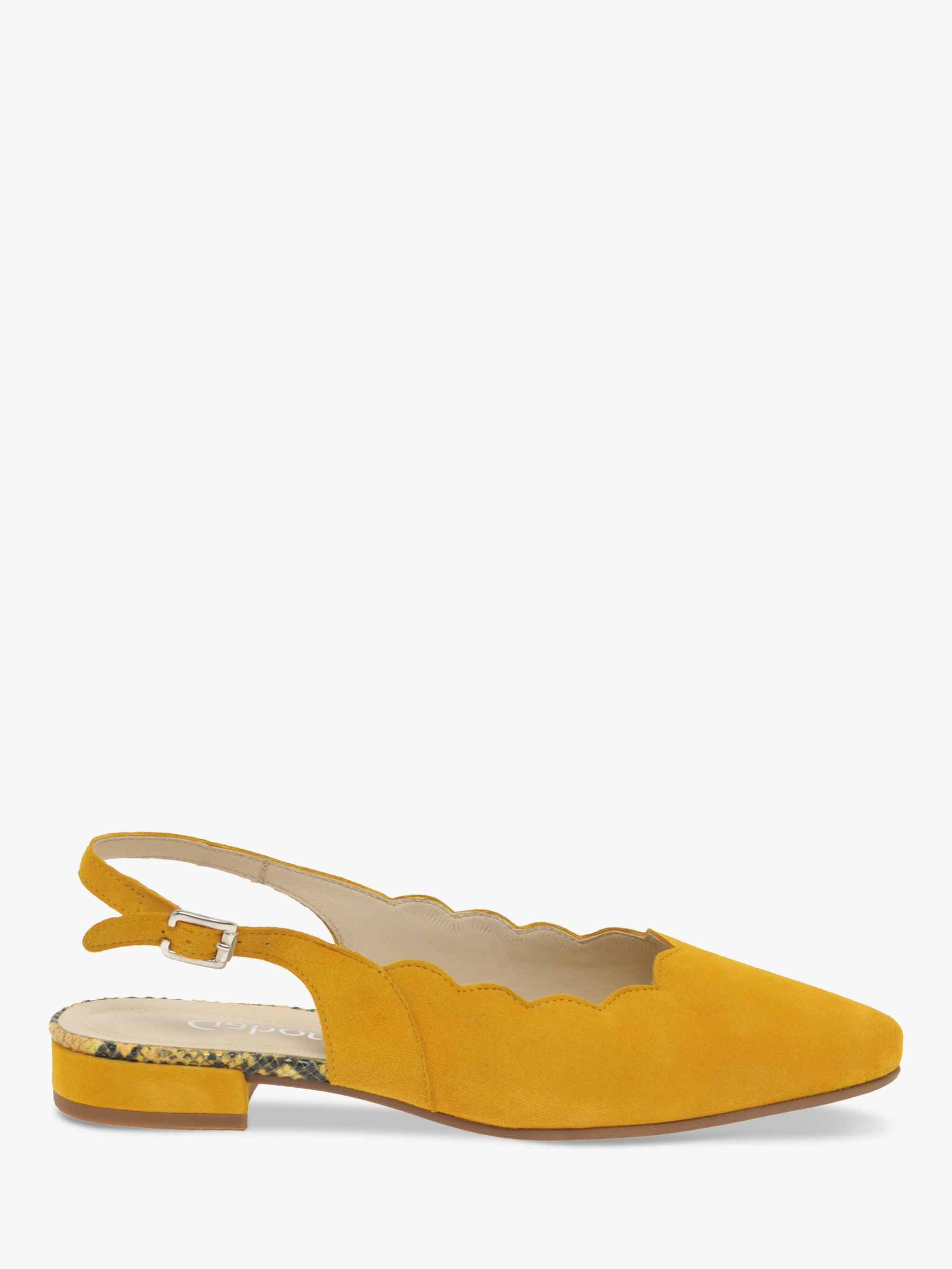 Gabor Gabor Maple Wide Fit Suede Slingback Court Shoes, Yellow