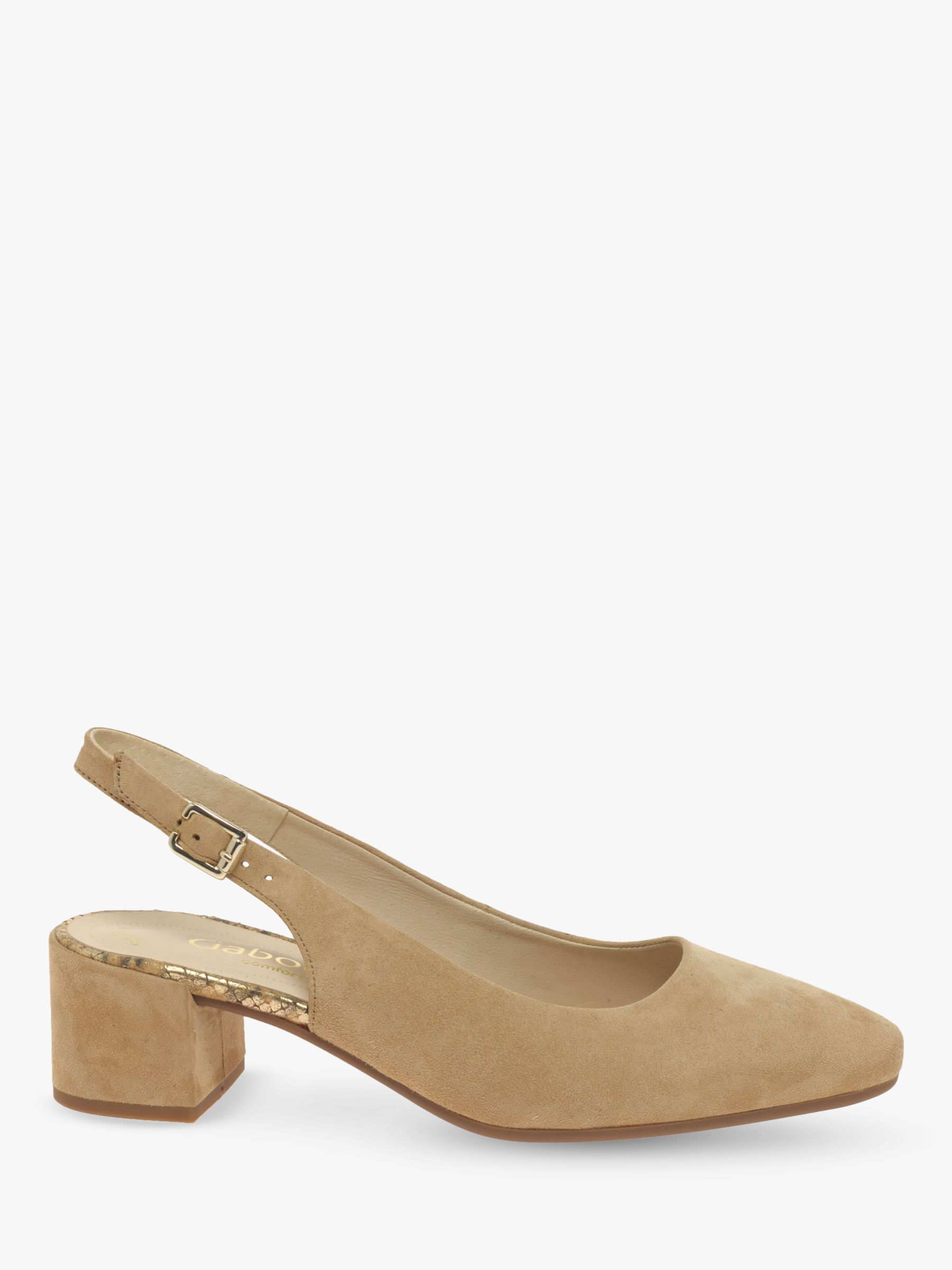 Gabor Gabor Joel Wide Fit Block Heel Slingback Court Shoes, Caramel