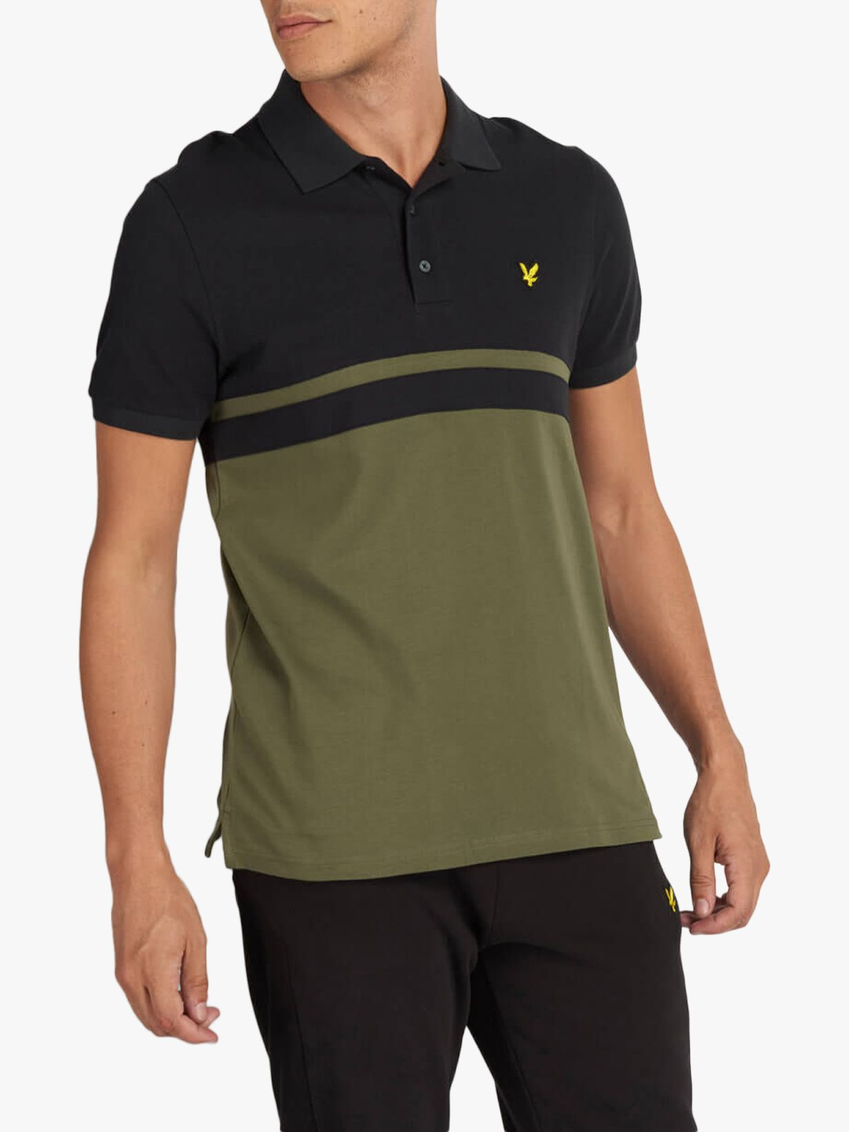 Lyle & Scott Lyle & Scott Colour Block Polo Shirt, True Black/Olive