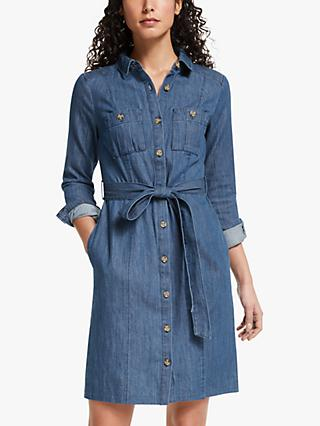 Boden Holly Button Down Denim Dress, Mid Vintage Blue