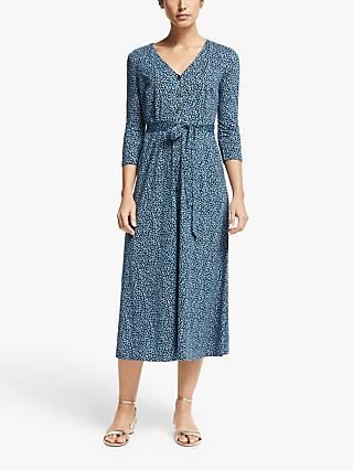 Boden Fleur Animal Print Jersey Midi Dress, Sky Blue Animal