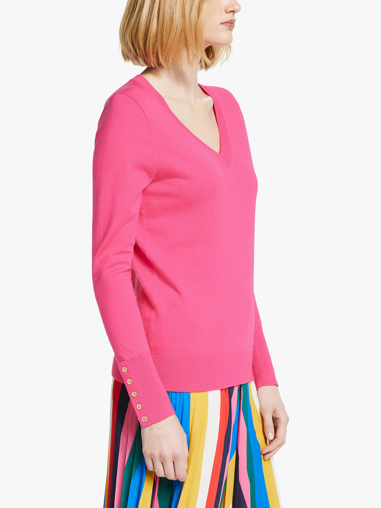 Buy Boden Eldon V-Neck Jumper, Bright Camellia, XS Online at johnlewis.com