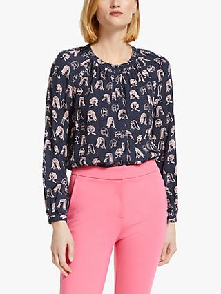 Boden Naomi Faces Print Blouse, Chit Chat Navy