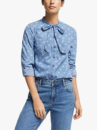 Boden Keira Bow Neck Shirt, Chambray/Brand Dot