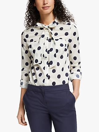 Boden Keira Bow Neck Shirt, Ivory