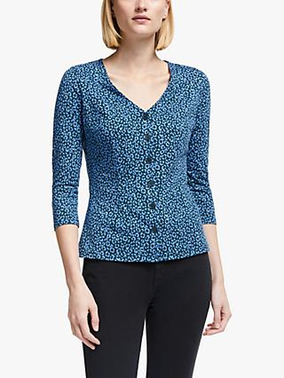 Boden Fleur Animal Print V-Neck Jersey Top, Sky Blue/Animal