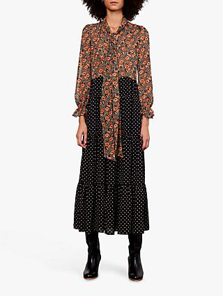 Gerard Darel Dayana Floral Print Tie Neck Dress, Black/Multi