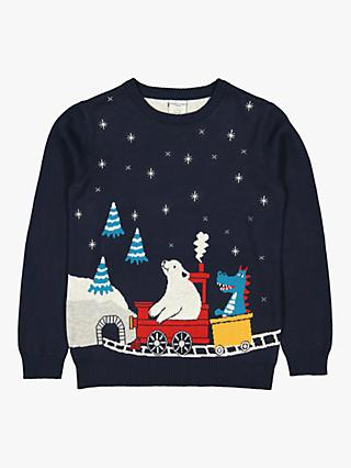 Polarn O. Pyret Baby GOTS Organic Cotton Christmas Jumper, Blue