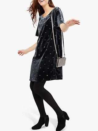 White Stuff Empress Embroidered Dress, Celestial Teal Print