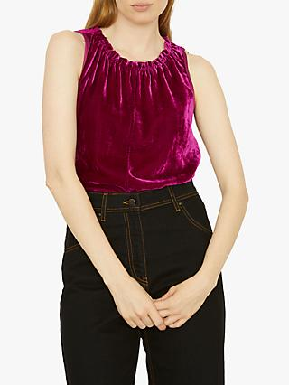 Jigsaw Velvet Front Gathered Neck Top