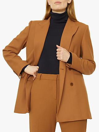 Jigsaw Double Breasted Tailored Jacket, Toffee
