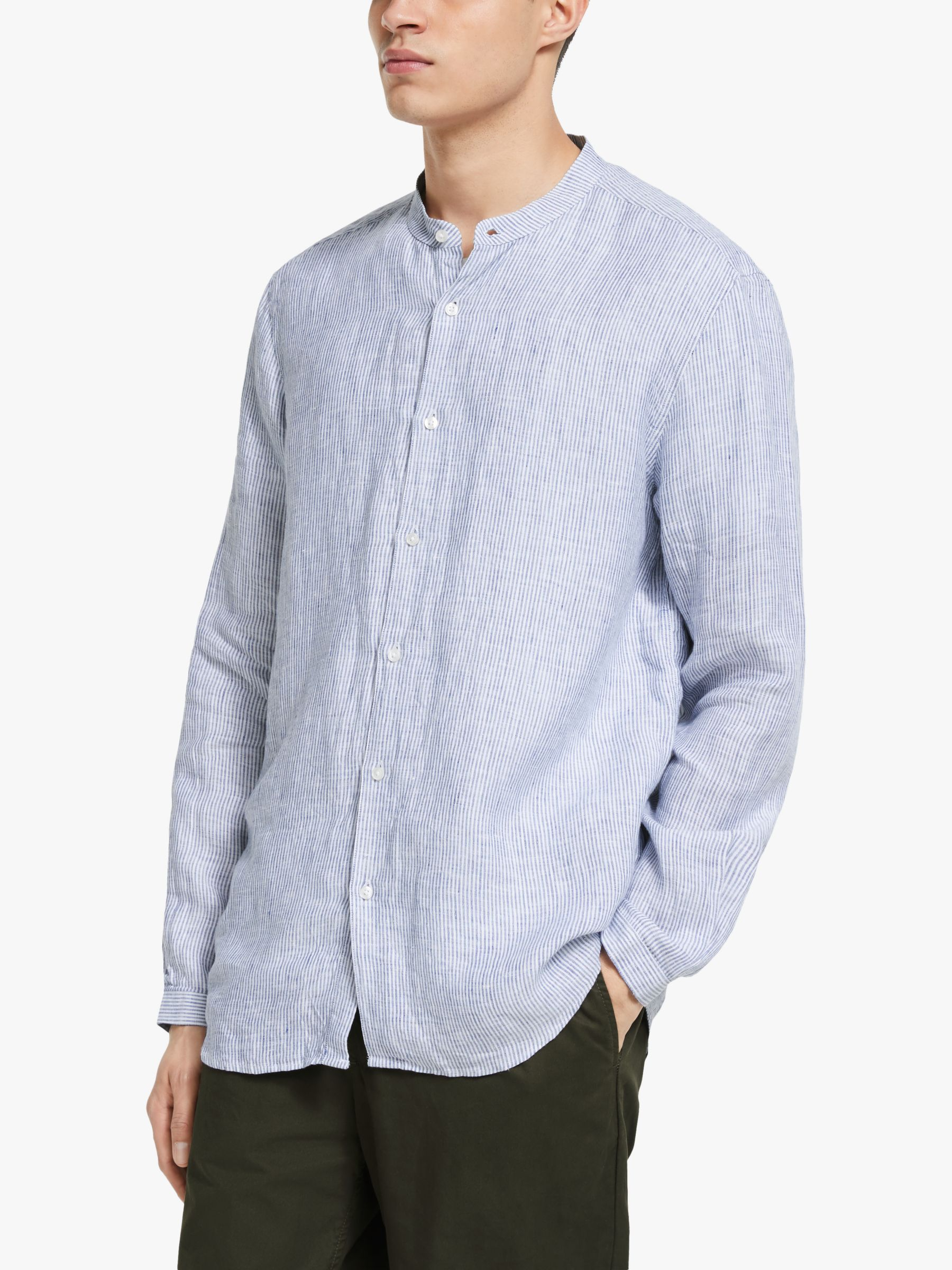 Armor lux Armor Lux Chemise Collarless Linen Shirt, Rayures Tght/Nature