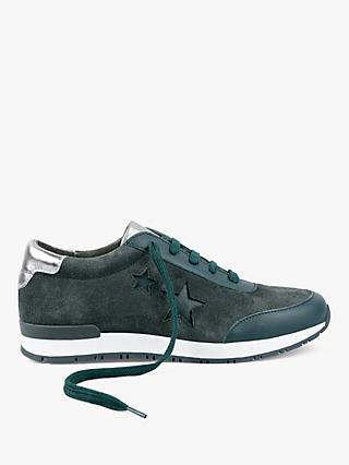 hush Bedale  Suede Low Top Trainers, Forest/Silver