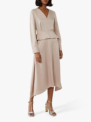 Warehouse Jacquard Waist Midi Dress, Beige