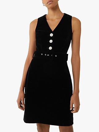 Warehouse Velvet Button Detail Mini Dress, Black