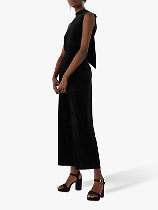 Warehouse Velvet Culotte Jumpsuit, Black
