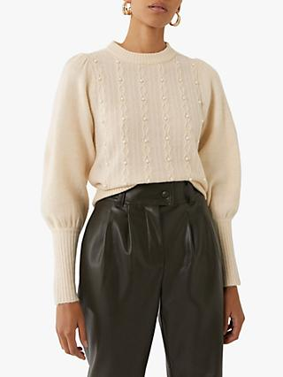 Warehouse Embellished High Neck Jumper, Cream
