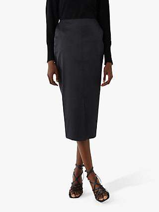 Warehouse Satin Midi Pencil Skirt, Black