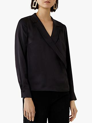 Warehouse Satin Wrap Shirt, Black