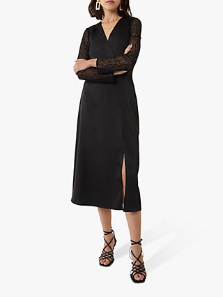Warehouse Lace Midi Dress, Black
