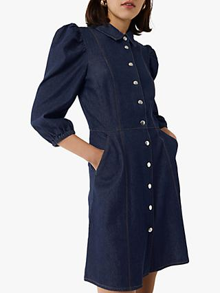 Warehouse Puff Sleeve Dress, Dark Wash Denim