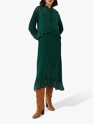 Warehouse Tiered Pleated Midi Dress