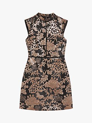Oasis Oriental Jacquard Dress, Black/Multi