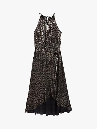 Oasis Foil Leopard Midi Dress, Silver/Grey