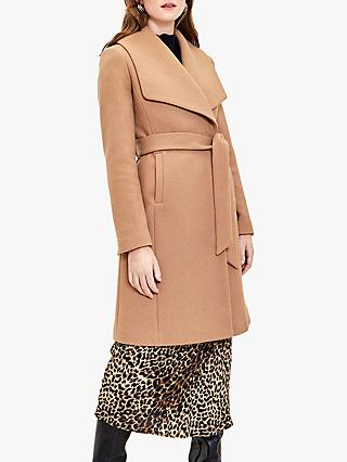 Oasis Premium Short Wrap Coat, Camel
