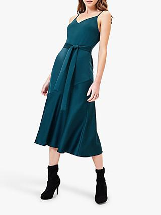 Oasis Satin Midi Dress, Teal Green
