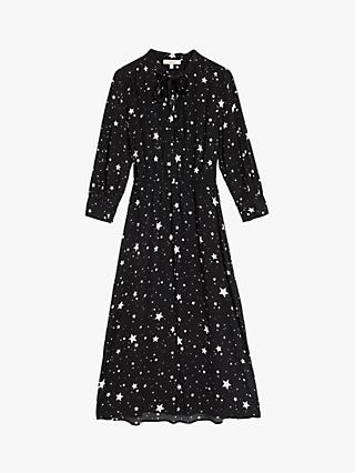 Oasis Pussy Bow Star Midi Dress, Black/Multi