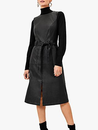 Oasis Faux Leather Midi Dress, Black