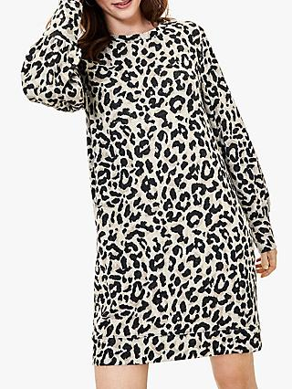 Oasis Animal Print Balloon Sleeve Dress, Natural/Multi