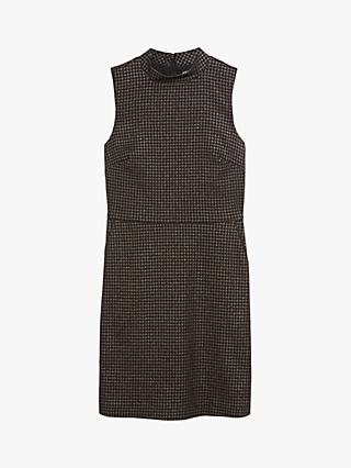 Oasis Sparkle Dogtooth Dress, Black/Multi