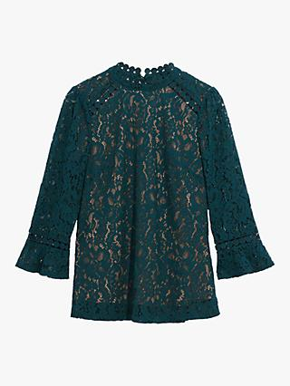 Oasis Lace Flute Sleeve Blouse Top, Teal Green