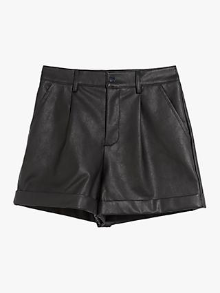 Oasis Faux Leather Shorts, Black