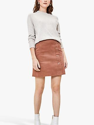 Oasis Cord Side Button Mini Skirt, Mid Neutral