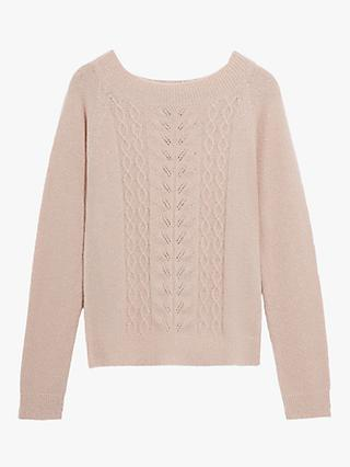 Oasis Sparkly Cable Knit Jumper, Mid Pink