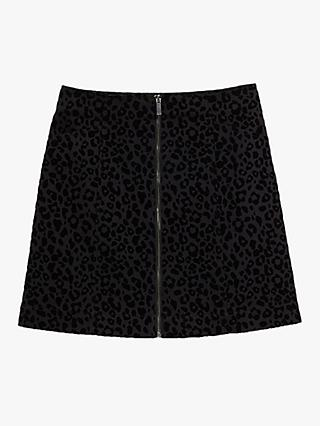 Oasis Leopard Print Mini Skirt, Black