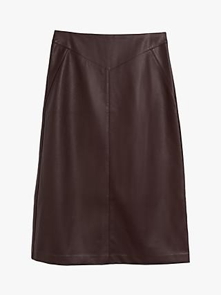 Oasis Faux Leather Midi Skirt