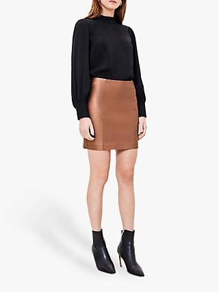 Oasis Faux Leather Metallic Mini Skirt, Bronze