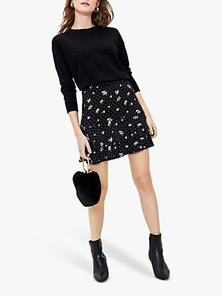 Oasis Metallic Floral Tiered Mini Skirt, Black/Multi