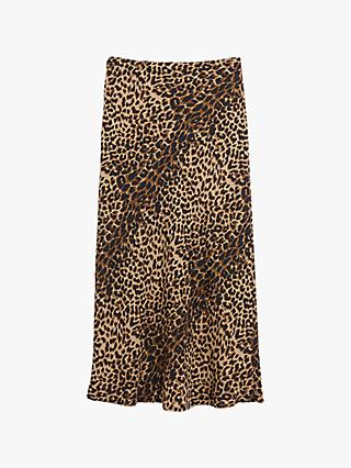Oasis Leopard Print Midi Skirt, Animal