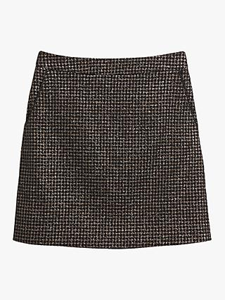 Oasis Sparkle Dogtooth Mini Skirt, Black/Multi